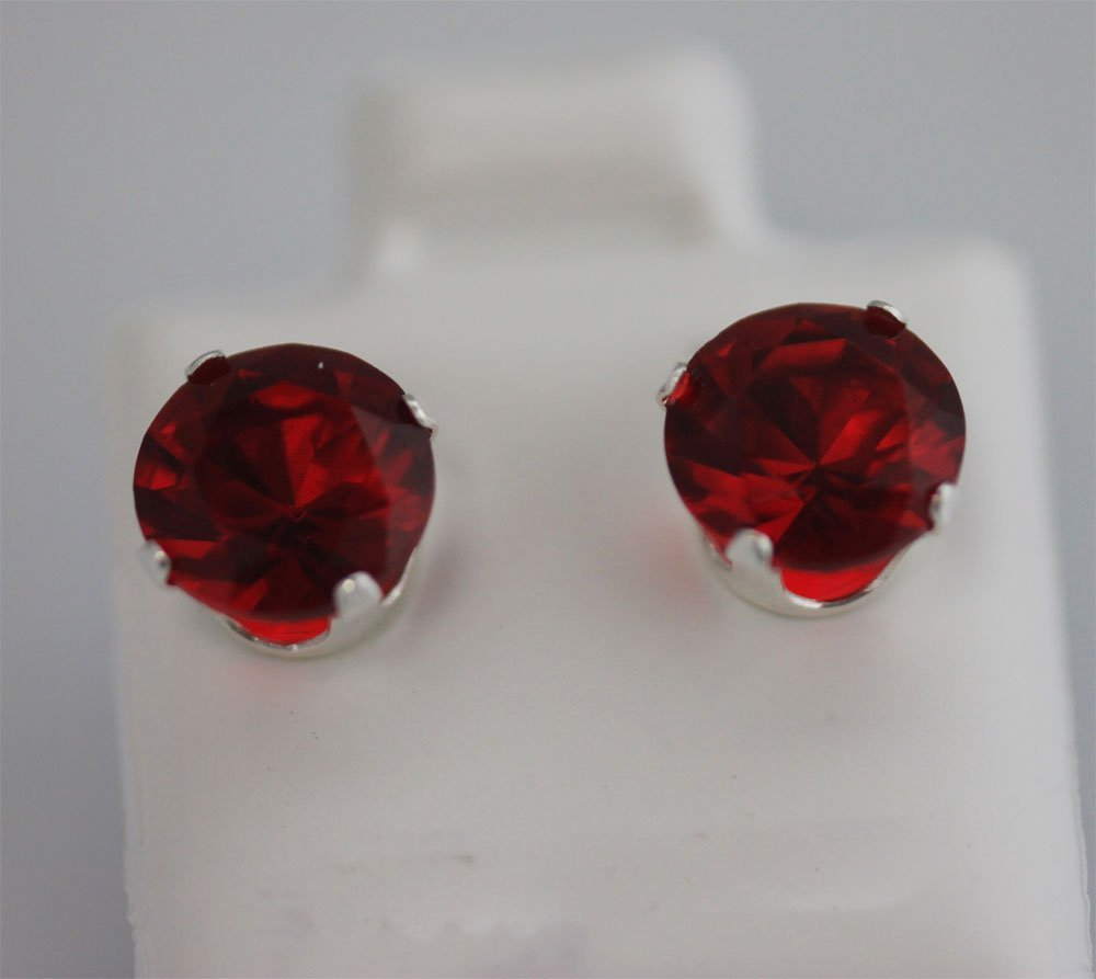 ROUND RUBY CZ STUD EARRINGS .925 STERLING SILVER