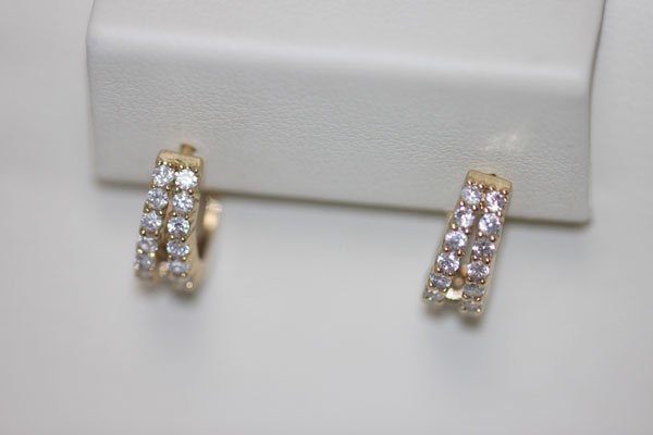 14K GOLD PLATED CZ SMALL EARRINGS