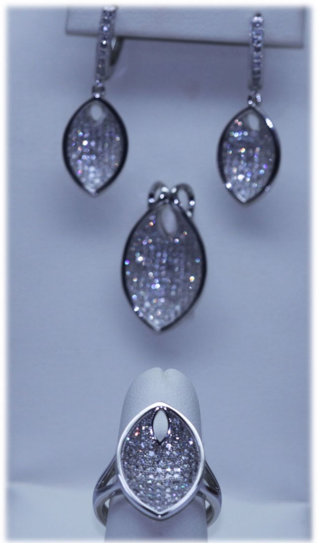 43.70 CTW MICRO PAVE CZ EARRING, RING,PENDANT SET .925