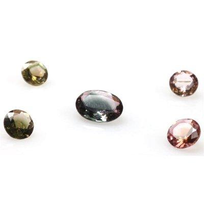 Natural 4.01ctw Bi-Color Tourmaline Mix Size (5) Stone