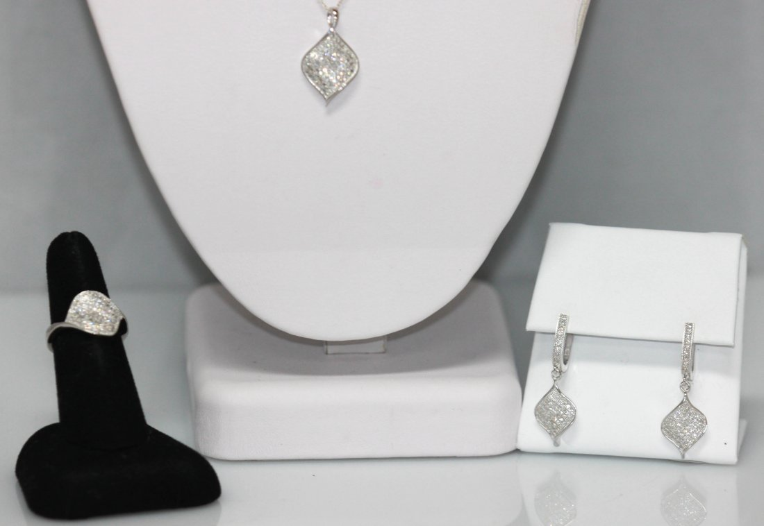 1.60 CTW MICRO PAVE CZ EARRING, RING,PENDANT SET .925 S