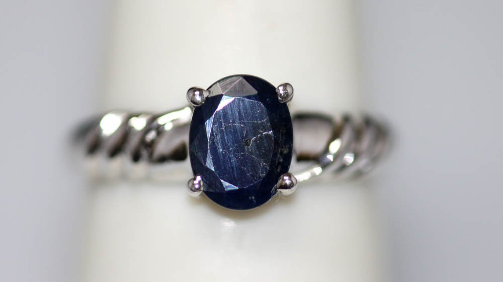1.24 CTW SAPPHIRE RING .925 STERLING SILVER