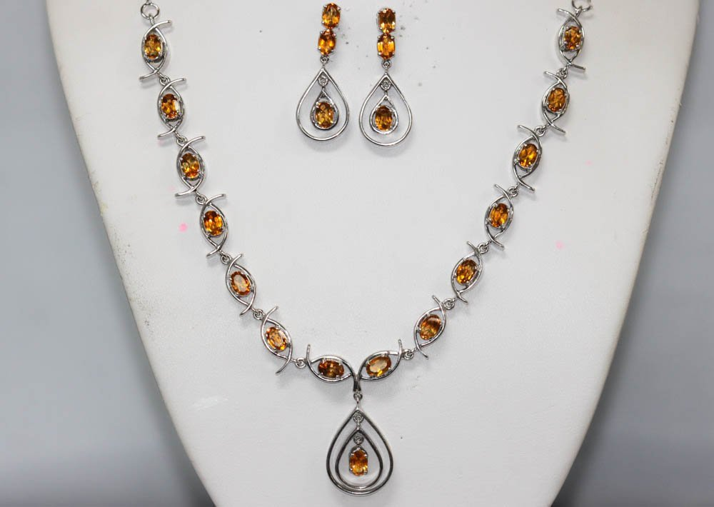 8.65 CTW CITRINE .925 STERLING SILVER NECKLACE/EARRINGS