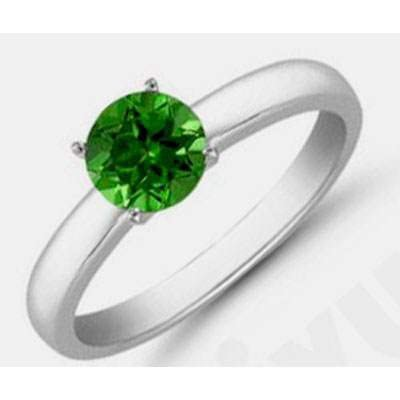 Green Tourmaline 1.28 ctw Solitaire Ring 14kt W/Y Gold