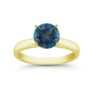 Genuine 1.25 ctw London Blue Topaz Solitaire Ring