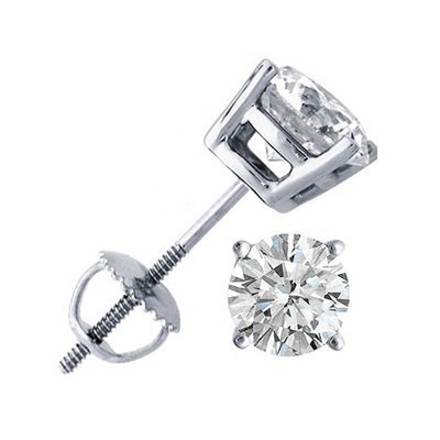2.00 ctw Round cut Diamond Stud Earrings G-H, SI-I