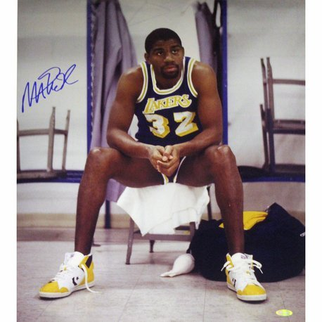 MAGIC JOHNSON SIGNED SITTING ON CHAIR VERTICAL PHOTO