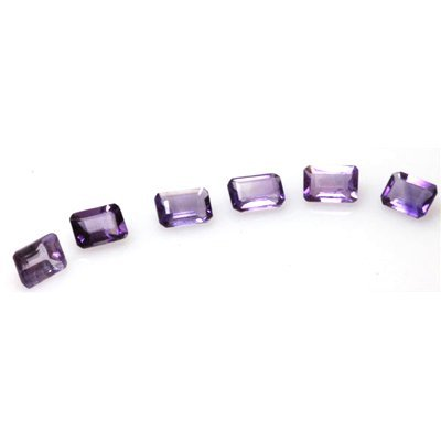 Natural 5.66ctw Amethyst Emerald Cut 7x5 (6) Stone