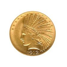 Early Gold Bullion $10 Indian Almost Uncirculated