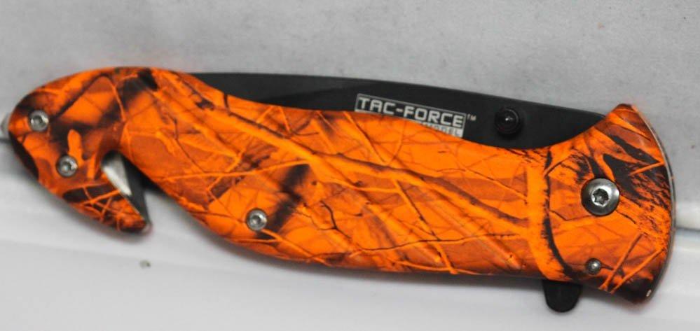 COLLECTORS EDITION S/A ORANGE CAMO POCKET KNIFE W/SMOOT