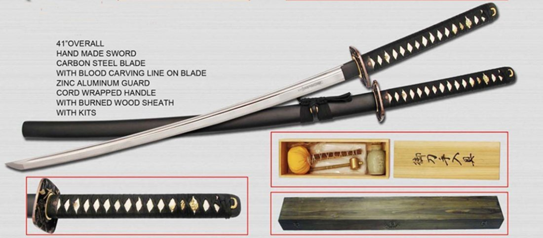 """COLLECTORS EDITION 41"""" HAND FORGED CHINESE SAMURAI'S SW"""