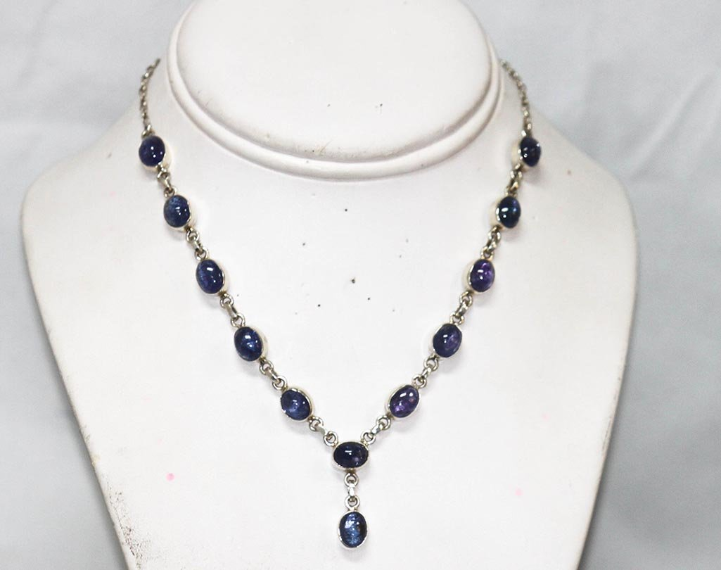 32.50 CTW TANZANITE .925 STERLING SILVER NECKLACE