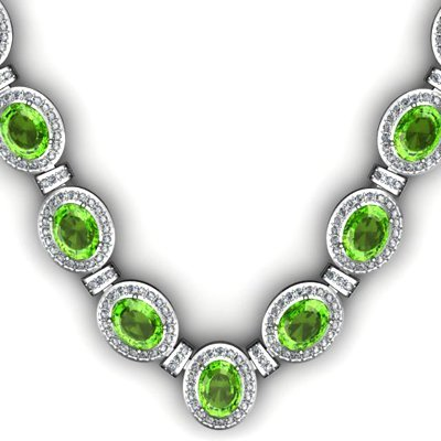 Certified 38.60 ctw Peridot Diamond Necklace 14k