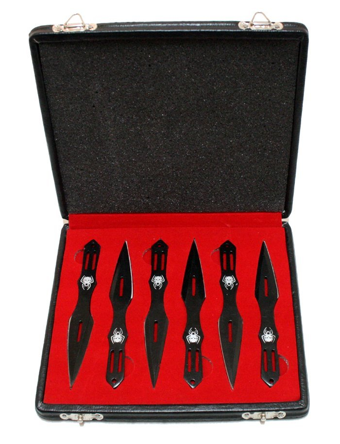 COLLECTORS EDITION BLACK THROWING KNIVES SET OF 6 W/BOX