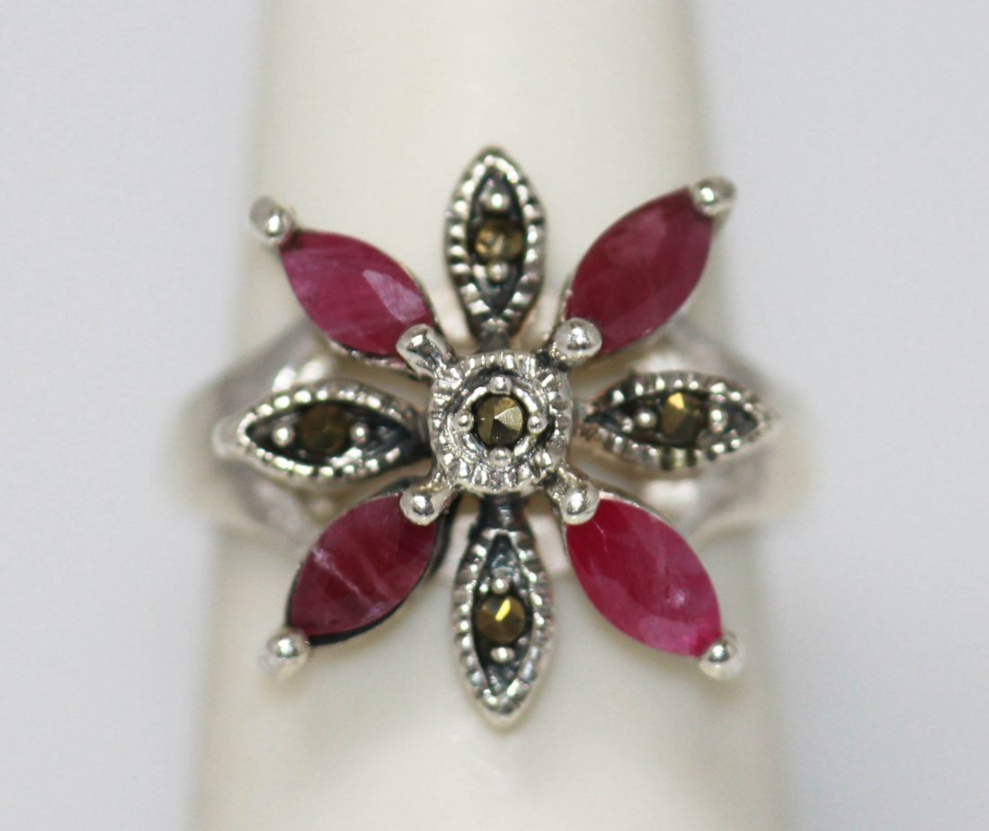 1.00 CTW RUBY RING ANTIQUE STYLE JEWELRY .925 STERLING