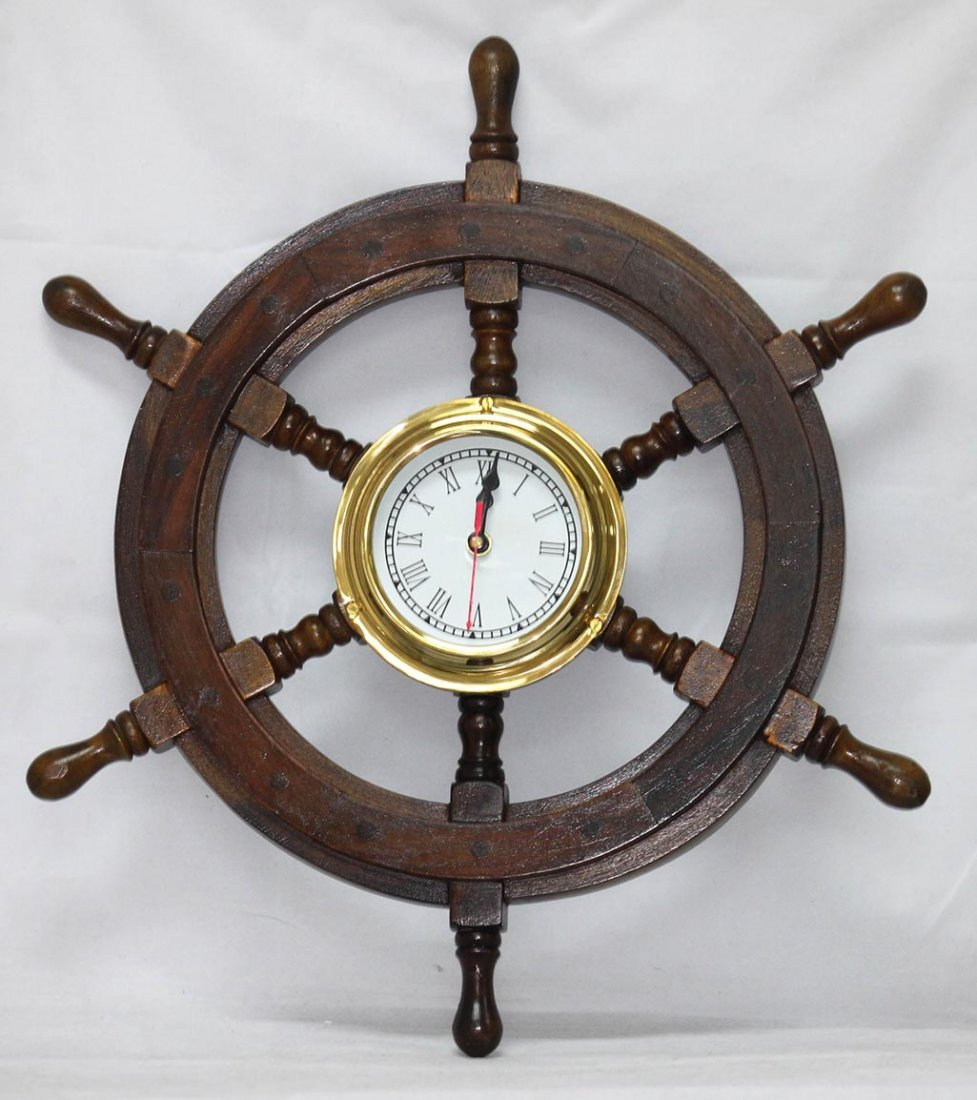 "ANTIQUE STYLE 24"" SHISHAM WOOD BRASS SHIP WHEEL CLOCK"