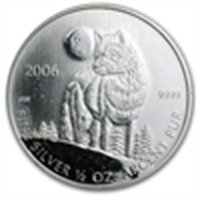 2006 1/2 oz Silver Canadian Timber Wolf Coin (Abrasions