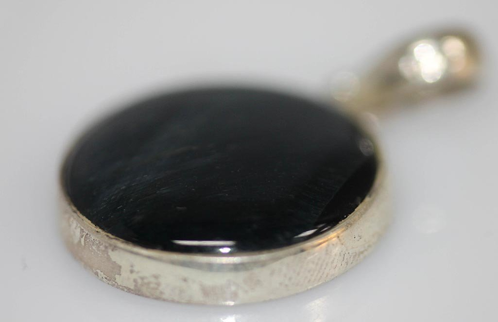 15.00 CTW BLACK ONEX .925 STERLING SILVER PENDANT