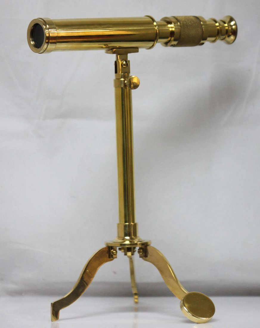 "ANTIQUE EDITION 17"" BRASS TELESCOPE ON STAND"