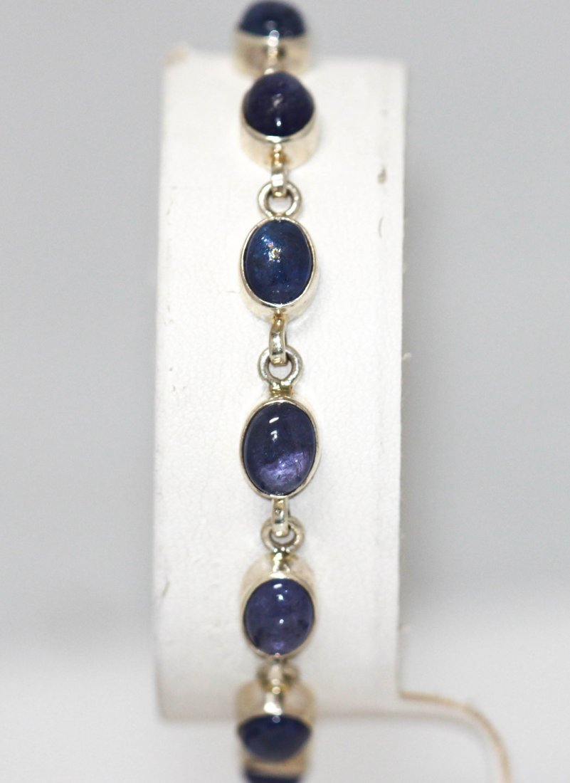 13.47 CTW Natural Tanzanite Bracelet .925 Sterling Silv