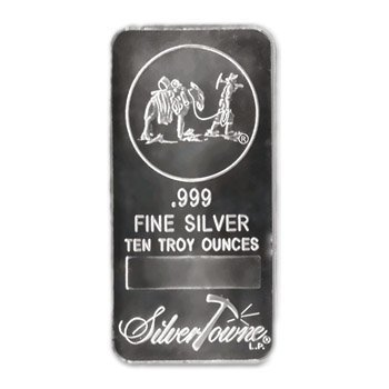 Silver Bars: Random Manufacturer 10 oz Bar .999 fine