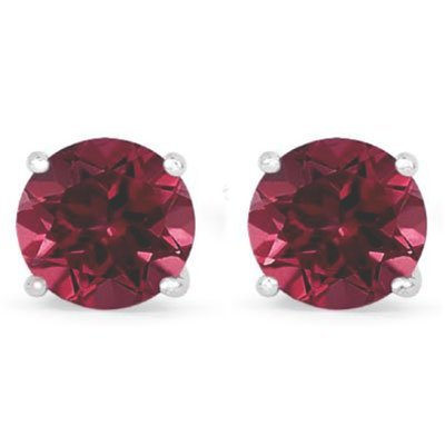 Genuine 2.10 ctw Ruby Stud Earring 14k 0.86g