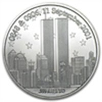 "1 oz ""Remember!"" Twin Towers 9/11/2001 Silver Round"