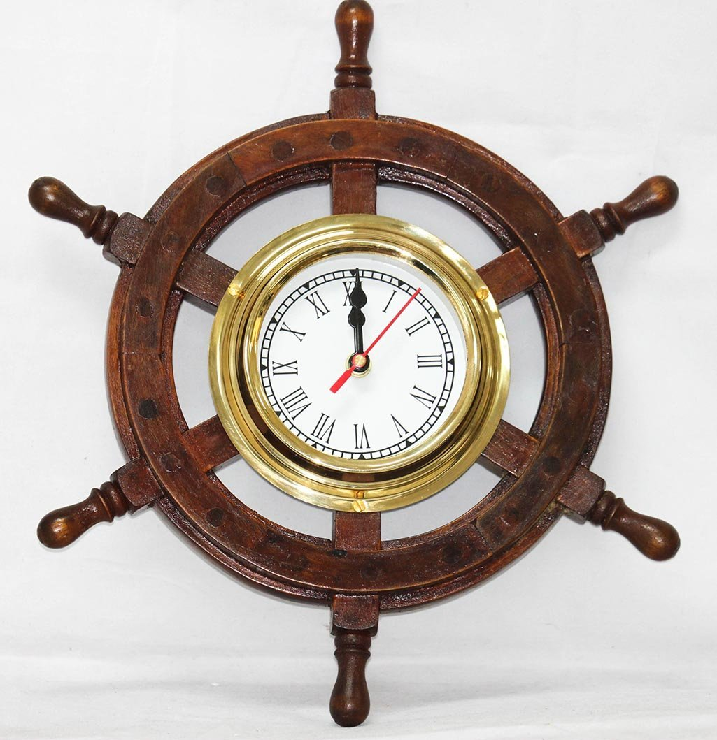 "ANTIQUE STYLE 18"" SHISHAM WOOD BRASS SHIP WHEEL CLOCK"