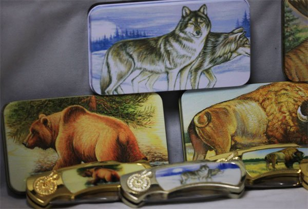 COLLECTORS EDITION 5 ANIMAL POCKET KNIVES SET WITH PICT