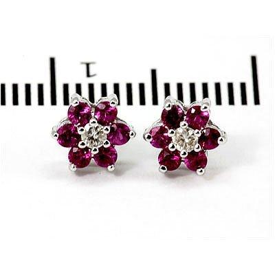 Genuine 1.0 ctw Ruby Flower Earring 14k 1.76g