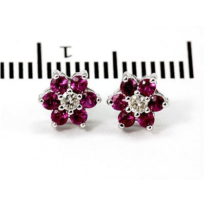 Genuine 1.0 ctw Ruby Flower Earring 14k 1.76g