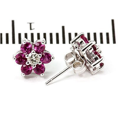 Genuine 1.0 ctw Ruby Flower Earring 14k 1.76g - 2