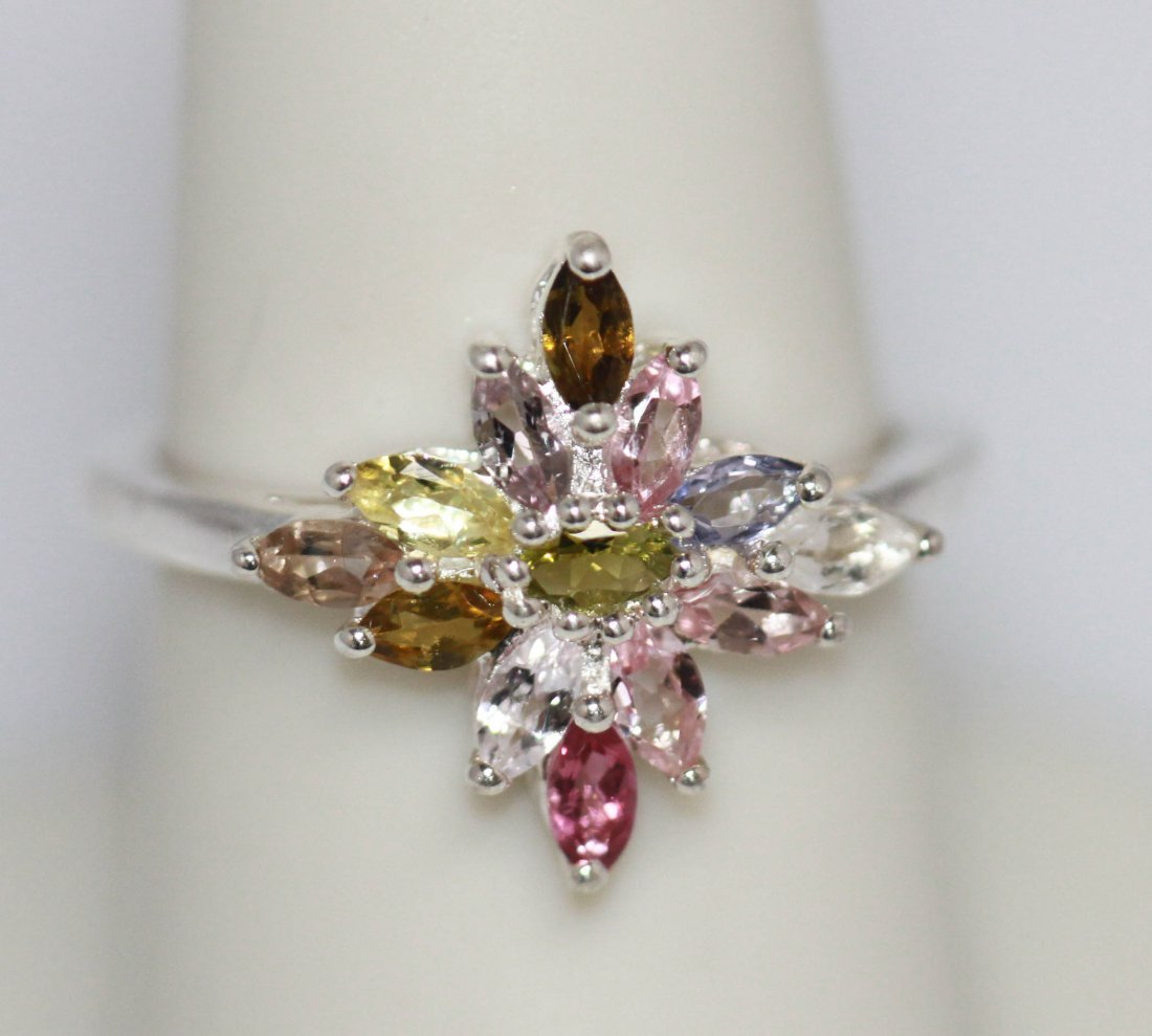 1.11 CTW SEMIPRECIOUS RING .925 STERLING SILVER
