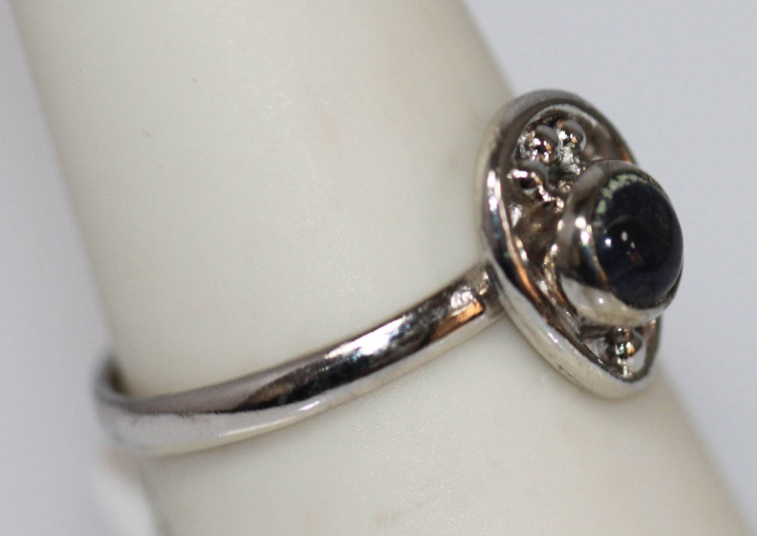 10.30 CTW BLACK ONEX RING .925 STERLING SILVER