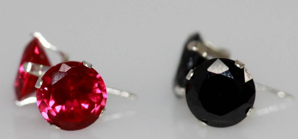 Black Round Stud CZ And Red Round Stud CZ Earring Set .