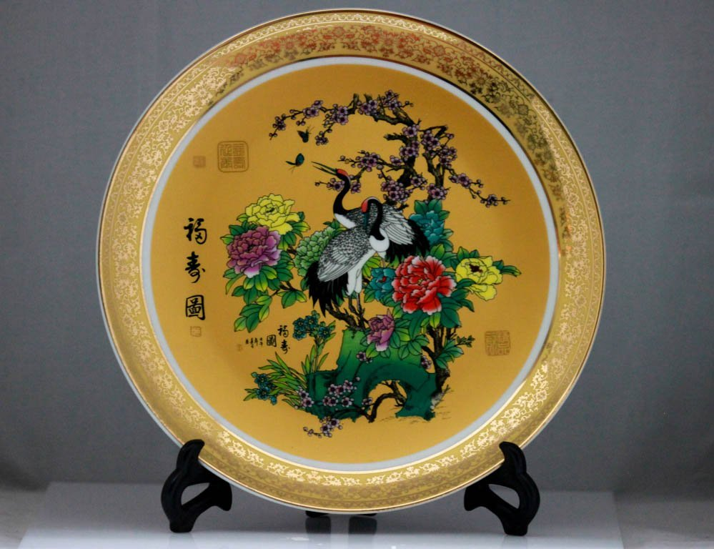 CHINESE Western Grebe PORCELAIN PLATE W/STAND