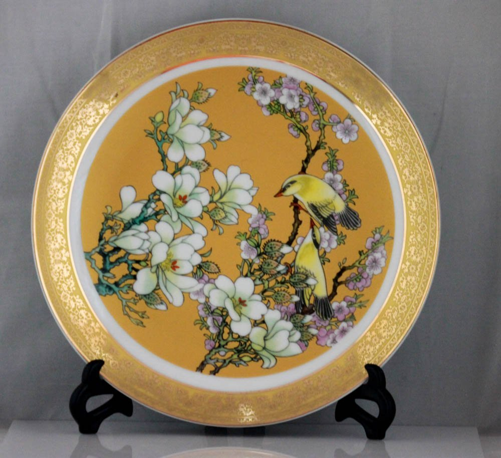 CHINESE FLOWER TREE WITH BIRDS PORCELAIN PLATE W/STAND