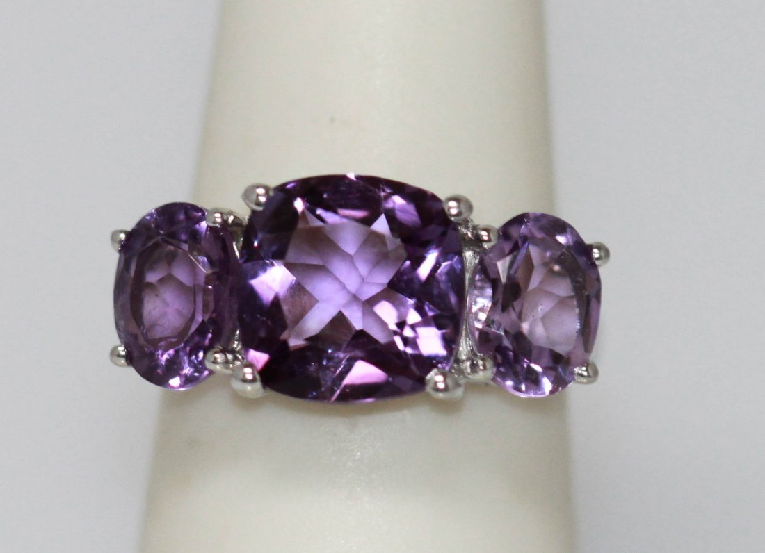 8.50 CTW Amethyst Ring .925 Sterling Silver