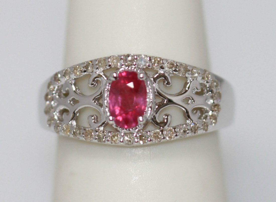 1.15 CTW RUBY AND DIAMOND RING .925 STERLING SILVER