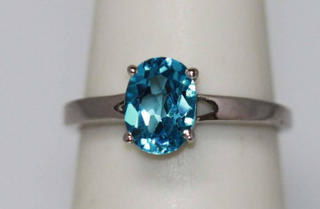 1.66 CTW BLUE TOPAZ RING .925 STERLING SILVER