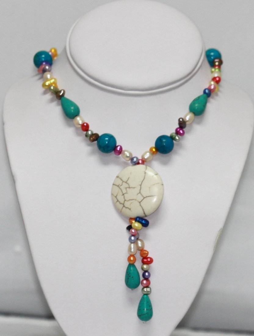 MULTICOLOR PEARL AND BLUE TURQUOISE NECKLACE AUTHENTIC