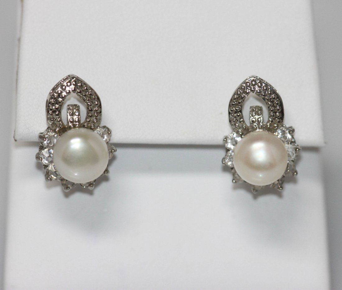 WHITE PEARL AND CZ EARRING