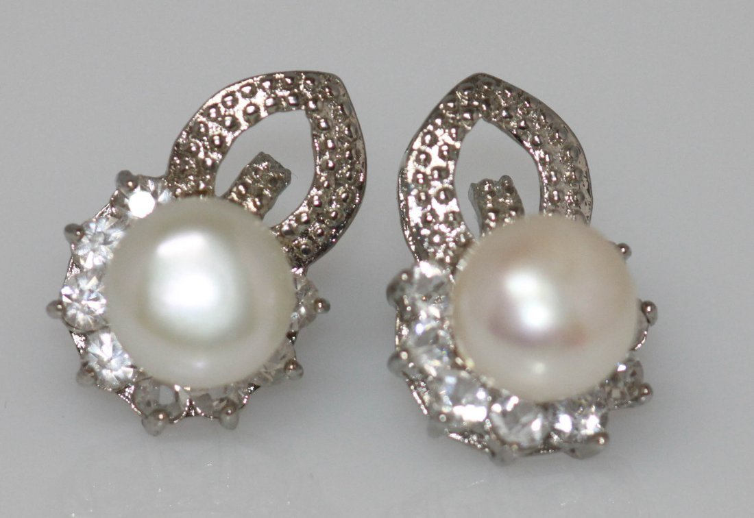 WHITE PEARL AND CZ EARRING - 2