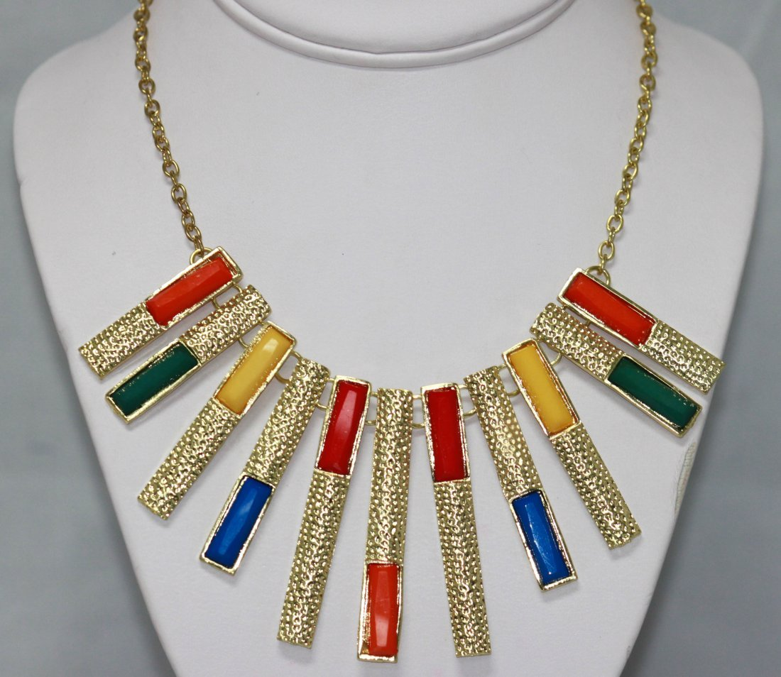 151CTW MULTICOLOR HANGING BARS BRASS NECKLACE;18INCH