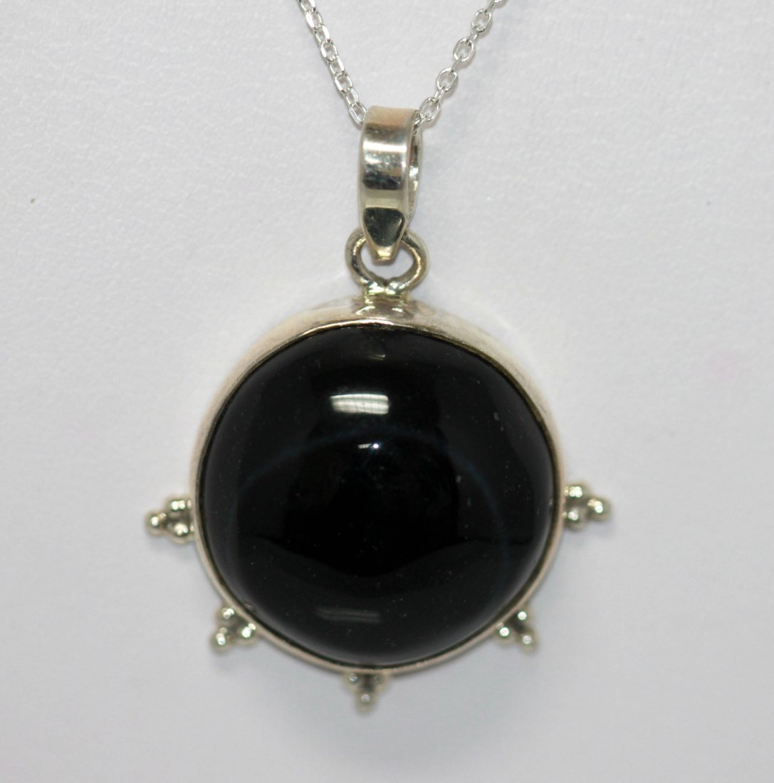 Natural 25.16 ctw Black Onex Pendant .925 Sterling Silv