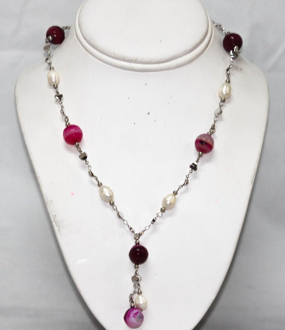 160CTW PURPLE CARNELIAN AND WHITE PEARL NECKLACE