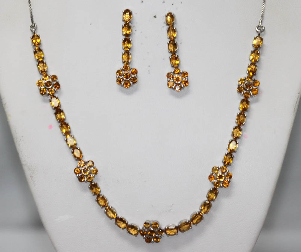 22.67 CTW CITRINE NECKLACE AND EARRING SET .925 STERLIN