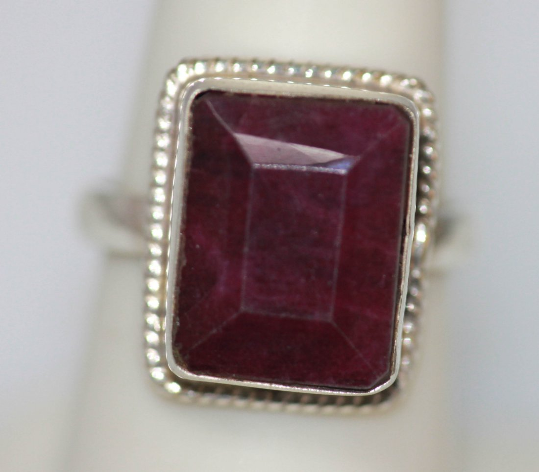 Natural 28.05 CTW Ruby Emerald Cut Ring .925 Sterling S