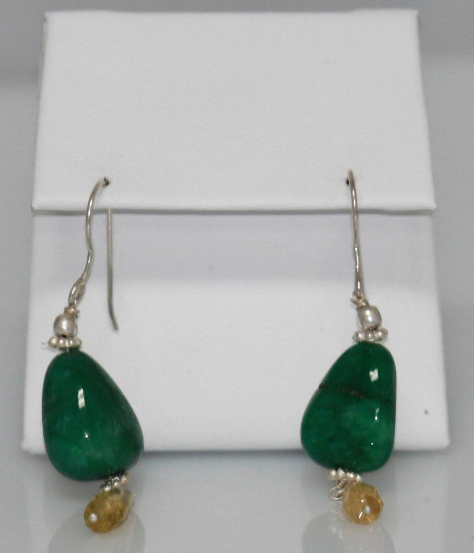 36.02 ctw Emerald/Semiprecious Earring .925 Sterling Si
