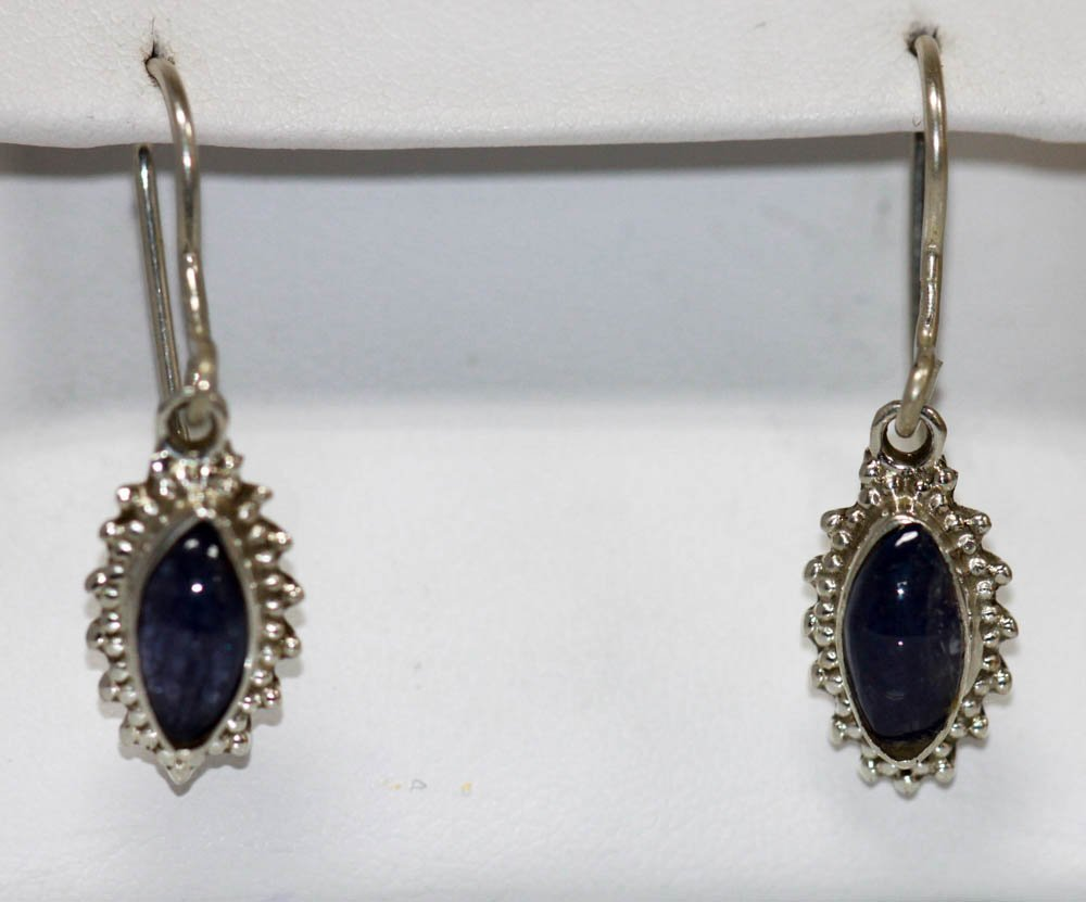 2.20 CTW Antique Style Tanzanite Earrings .925 Sterling